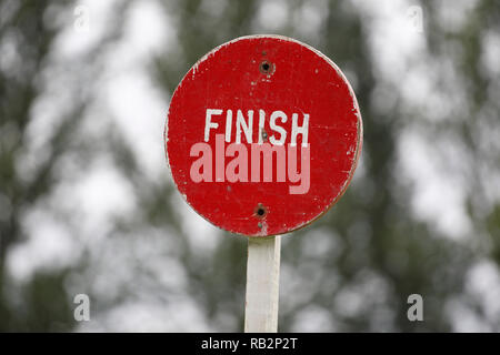 finish sign at Highland Games - Stock Image