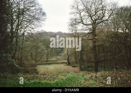 View of Richard Long's Red Slate Line as seen from the Greek Temple at the Yorkshire Sculpture Park. - Stock Image