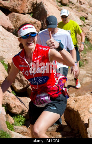 Jill Howard in the Pikes Peak Ascent - Stock Image