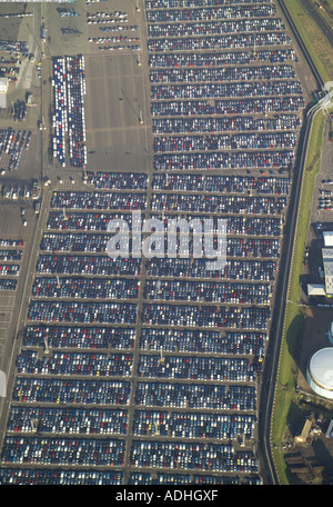 Aerial view of imported cars parked at Sheerness Docks in Kent - Stock Image