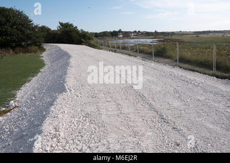 Freshly laid chalk covers the Nemo Link at Pegwell Bay near Ramsgate, Kent.  This is where high voltage electricity - Stock Image