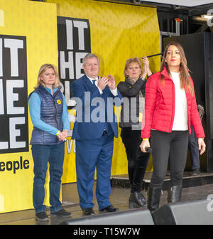 London, UK. 23rd Mar, 2019. Dr Rosena Allin-Khan Labour MP speaking with Justine Greening Conservative MP , Ian Blackford SNP MP, Anna Soubry TIG MP at the People's Vote March and rally, 'Put it to the People.' Credit: Prixpics/Alamy Live News - Stock Image