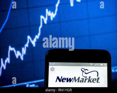 Ukraine. 16th Feb, 2019. NewMarket Corporation logo seen displayed on a smart phone. Credit: Igor Golovniov/SOPA Images/ZUMA Wire/Alamy Live News - Stock Image