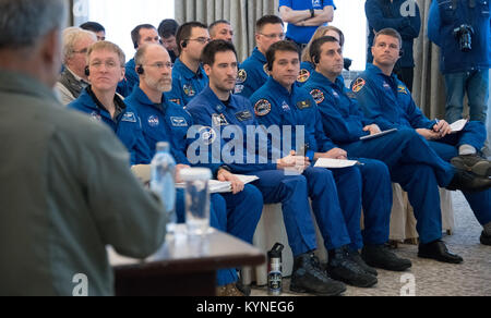NASA, ESA (European Space Agency), Roscosmos, along with Russian Search and Recovery Forces, meet to discuss the - Stock Image
