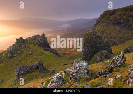 Dramatic outcrops near the Old Man of Storr on the Isle of Skye, Scotland. Autumn (November) 2017. - Stock Image