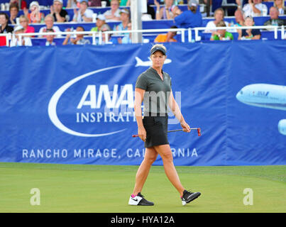 Rancho Mirage, California, USA. 2nd Apr, 2017. Suzann Pettersen on the 18th green during the final round of the - Stock Image