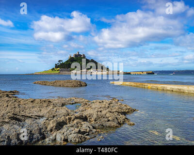 St Michael's Mount at Marazion, Cornwall, UK at high tide. - Stock Image