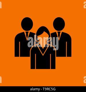 Corporate Team Icon. Black on Orange Background. Vector Illustration. - Stock Image