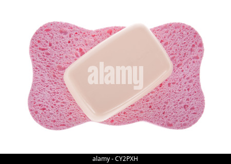 Bath sponge and a soap bar isolated on a white background - Stock Image