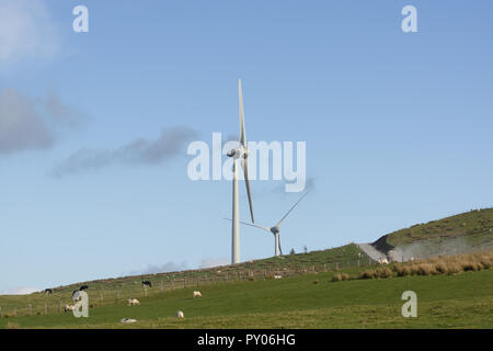 Wind turbines under construction in October 2018 at 110 metres they dominate the landscape at the Llyn Brenig reservoir on the Denbigh moors - Stock Image