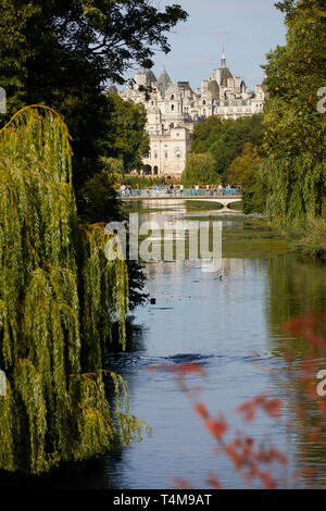 View over St James's Park pond to Govenrment buildings, London, England, Great Britain - Stock Image