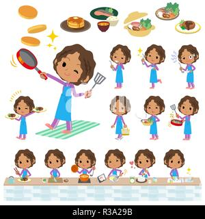 A set of women in sportswear about cooking.There are actions that are cooking in various ways in the kitchen.It's vector art so it's easy to edit. - Stock Image