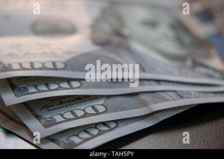 Detail of one hundred dollar bills - Stock Image