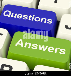 Questions And Answers Computer Keys Showing Support Knowledge And Wiki - Stock Image