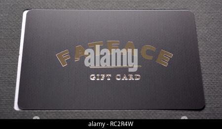 Fat face gift card close up macro - Stock Image
