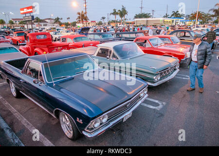 Donut Derelicts which is a traditional car meet in Huntington Beach. - Stock Image