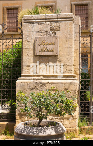 Italy Sicily Enna old mountain town 931m sign Via Roma Alessi Museum religious collection objects 15th c to 18th c of Canon Alessi - Stock Image