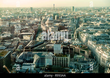 Elevated view of part of London, including the Dome of St Paul's Cathedral and the Post Office Tower. - Stock Image
