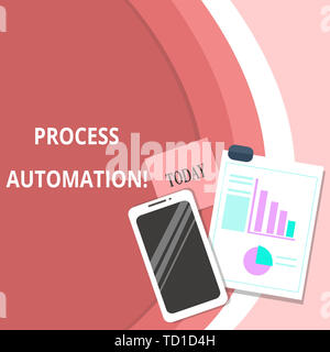 Handwriting text Process Automation. Conceptual photo Transformation Streamlined Robotic To avoid Redundancy Layout Smartphone Off Sticky Notes Clipbo - Stock Image