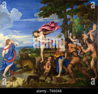 Titian, Bacchus and Ariadne, painting, c. 1520 - Stock Image