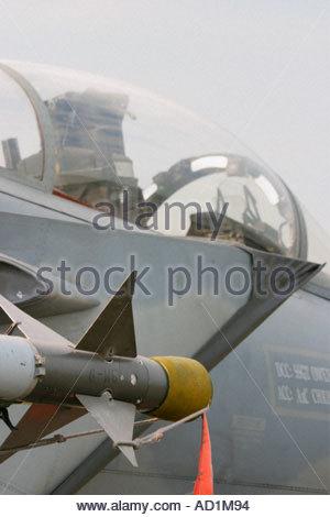 Zeltweg 2005 AirPower 05 airshow Austria, Eagle F15 USAAF Sidewinder AA heat-seeking missile - Stock Image