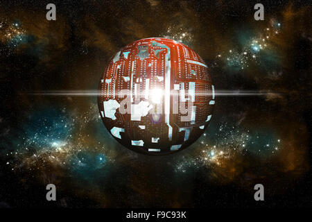 An artist's depiction of a theoretical Dyson sphere. A structure built by an advanced Type 2 civilization around - Stock Image