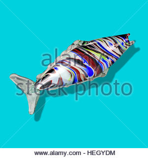 Murano glass fish mid century Italian retro on graduated background mcm fifties ornament kitsch - Stock Image