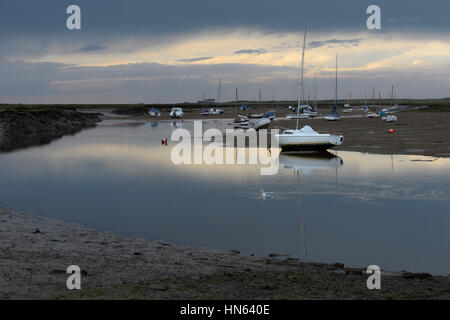 Tidal creek and yachts at Brancaster Staithe harbour, Norfolk, England. October. - Stock Image