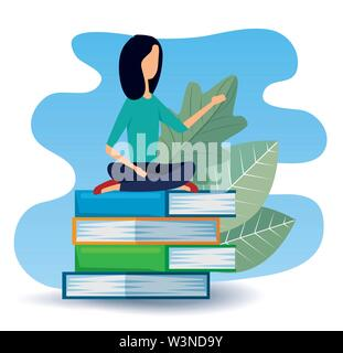 businesswoman sitting in the books with leaves plants - Stock Image