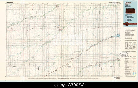 USGS TOPO Map Kansas KS Oberlin 801623 1985 100000 Restoration - Stock Image