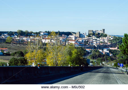 Road to beautiful old town of Obidos in Portugal. Close to beaches and the sea in Peniche. Walk the city walls and drink ginjinha from chocolate cups. - Stock Image