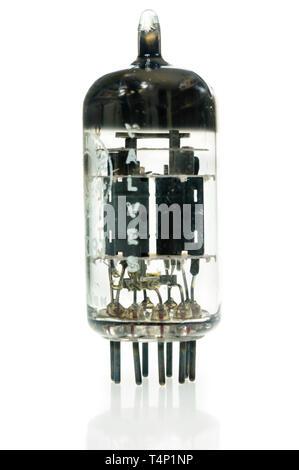 9-pin signal triode vacuum valve - Stock Image