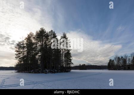 Finnland, Landschaft mit Schnee, Spur und Bäumen auf See - Stock Image