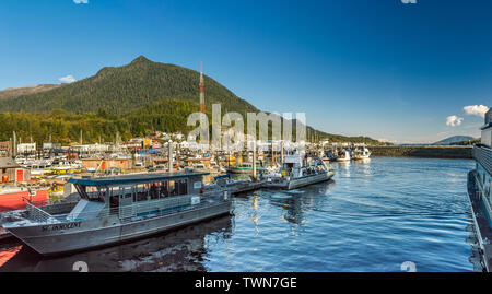 Sept. 17, 2018 - Ketchikan, AK: Many boats moored in Thomas Basin Small Boat Harbour. Late afternoon, Deer Mountain in background. - Stock Image