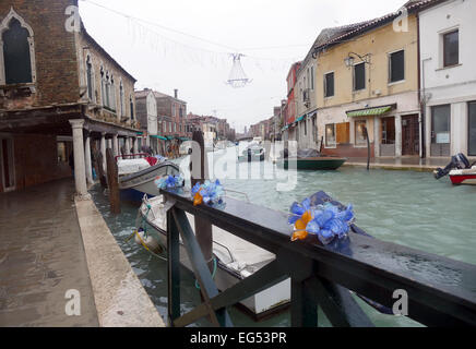Murano Island in the Venetian lagoon. 700 year of tradition in art glass processing. - Stock Image
