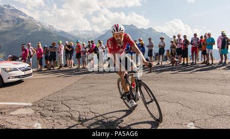 Thomas De Gendt Belgian Cyclist Tour de France 2018 cycling stage 11 La Rosiere Rhone Alpes Savoie France - Stock Image
