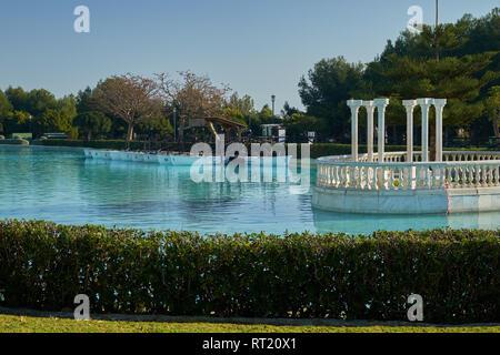 Boating Pond, artificial lake in la Batería park. Torremolinos, Málaga, Spain. - Stock Image