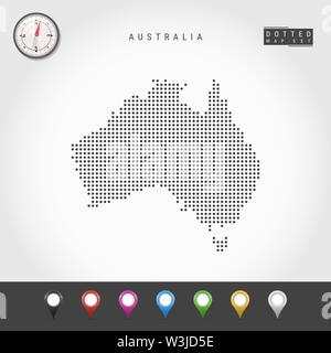 Dots Map of Australia. Simple Silhouette of Australia. Realistic Vector Compass. Set of Multicolored Map Markers. Vector Illustration. - Stock Image