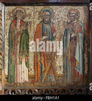 Painted Saints on the Rood Screen, Saints John the Evangelist, Andrew, Peter, Much defaced; St Michael's Church, - Stock Image