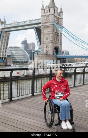 London,UK,29th April 2019,Manuela Schar attends The London Marathon Winners photocall which took place outside the Tower Hotel. Credit: Keith Larby/Alamy Live News - Stock Image