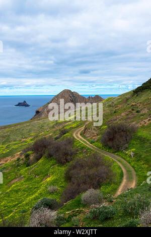 Portugal, Madeira, Porto Santo Island, view from Miradouro do Pedregal - Stock Image