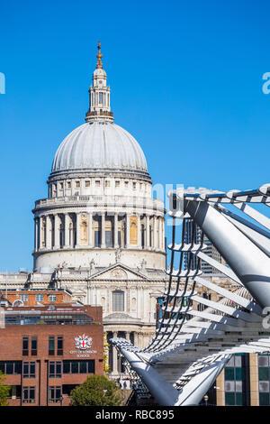 St Paul's cathedral and Millennium Bridge, London, England, UK - Stock Image