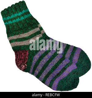 Warm green grey violet purple striped knitted wool camp socks, large detailed isolated macro closeup, gray burgundy red woolen pair detail - Stock Image