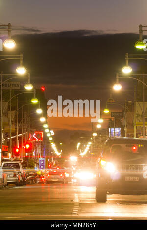 A view of Hindley Street at night in Adelaide, South Australia, Australia. - Stock Image