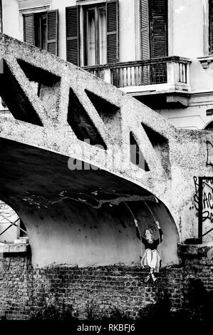 Italy. Milan. Street art. Mural under a bridge - Stock Image