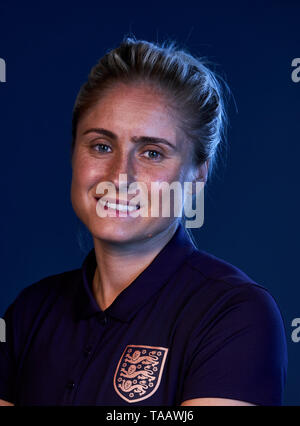 England women's captain Steph Houghton poses for a portrait during the media day at St George's Park, Burton. - Stock Image