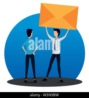 businessmen teamwork with letter message and elegant clothes - Stock Image