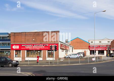 Anthony Axford Ltd timber merchants on Albert Road and King Street, Farnworth, Lancashire. - Stock Image
