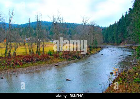 Mountain river flowing between village and green forest. Beautiful natural landscape. Panorama with forest river. Mountainous river flowing near - Stock Image