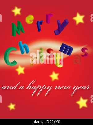 A Merry Christmas and a happy new year postcard. - Stock Image
